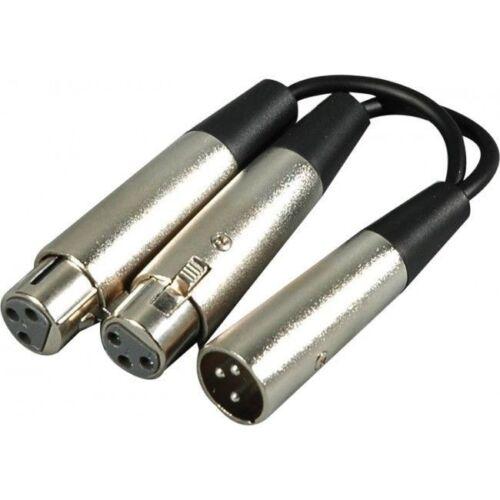 YXF-119 Hosa 6 inch XLR Male to 2 XLR Female Y-Cable