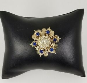 Ladies-Vintage-Gold-Tone-flower-Design-with-blue-and-clear-Crystal-Brooch-Pin