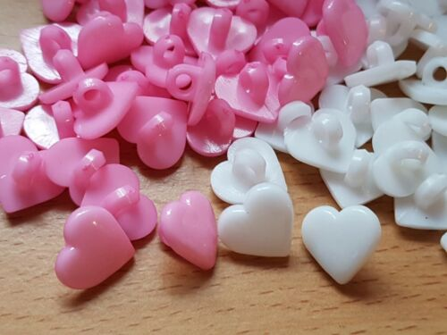 WHITE EMBELLISHMENT 2 HOLE 12MM CRAFTS SEWING ACRYLIC HEART SHANK BUTTONS PINK