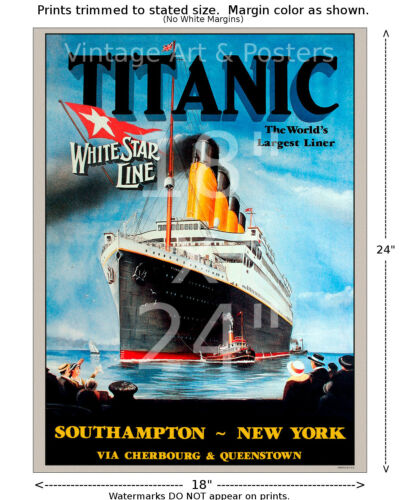 Titanic White Star Line Sailing Notice Travel Poster 6 sizes matte+glossy avail