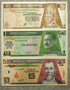Amerika 1 1996 And 5 1998-2006 Quetzales With The Most Up-To-Date Equipment And Techniques Papiergeld Welt Set Of 3 Verschiedene Guatemala 1/2 1998