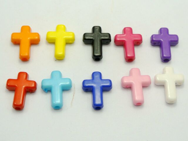 100 Mixed Bubblegum Color Acrylic Cross Charm Beads 16X12mm