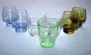 Beautiful-Vintage-Mixed-Set-of-Seven-Shot-Glasses