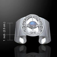 Chalice Well .925 Sterling Silver Cuff With Choice Of Gemstone By Peter Stone