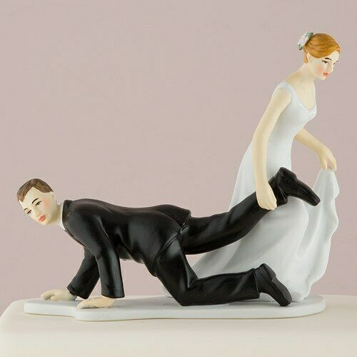 Bride In Control Dragging Groom Wedding Cake Topper