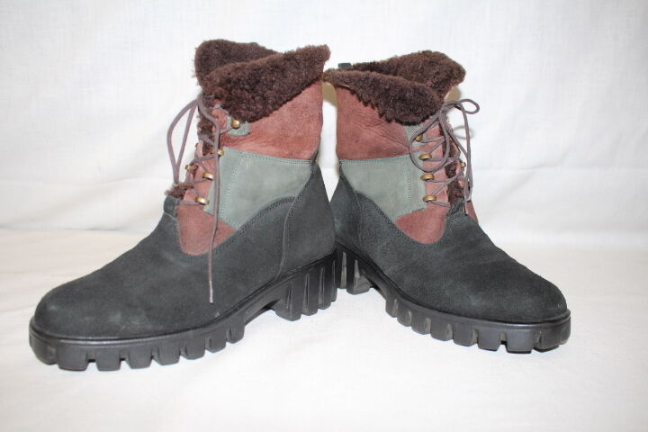 GOM MAR Mutli-color  Military  Style Boots W Brown Faux Fur Lining,Size US 6-B16