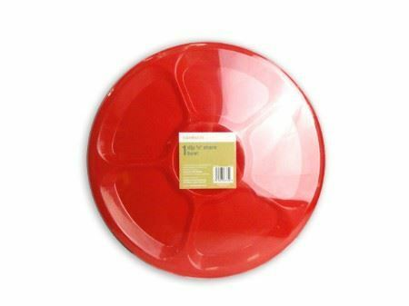 Pack of 12 Red Plastic Dip Snacks Bowl 6 Compartment BBQ Party Picnic Reusable