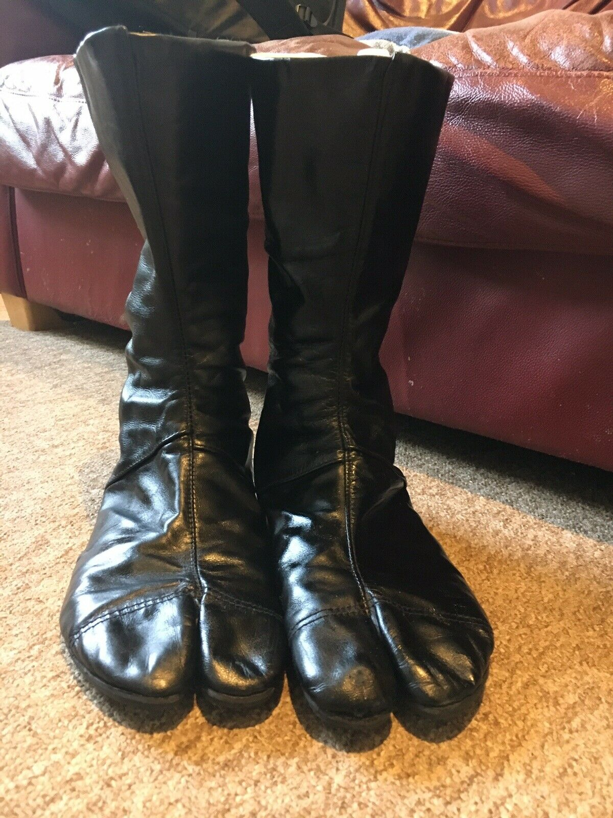 Japanese Boots Black Leather Look Size 26 7 UK