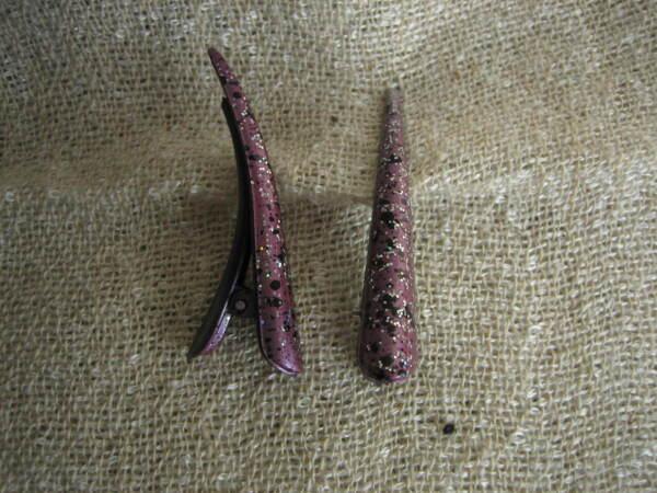2 Kleine Haarklemmen Clip Aus Metall Beige Und, Flieder Mit Glitzer