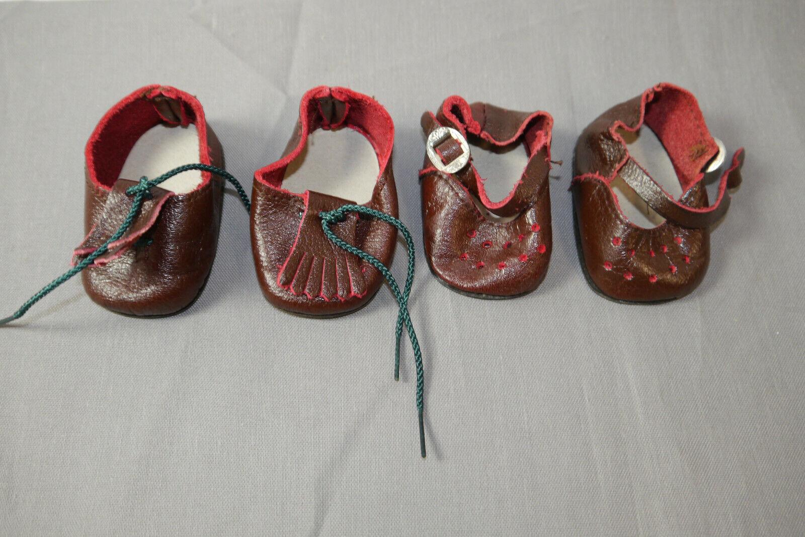 Käthe Kruse original Schuhe 2 Paar braune Leder Schuhe länge 7cm (K24)1