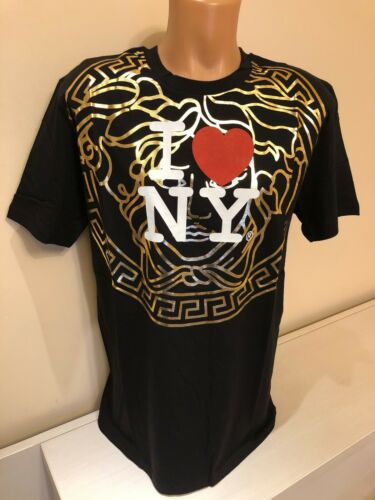 Pre-Owned VERSACE Black Men T shirt I Love NY Size