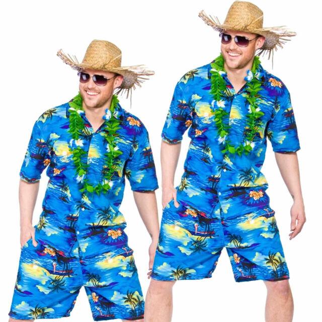 d5fa0e0330c7 Mens Hawaiian Party Guy Luau Summer Beach BBQ Shirt   Shorts Fancy ...