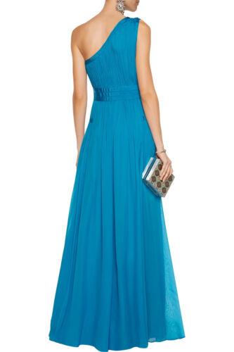 $798 NEW Diane von Furstenberg DVF Ophelia Ruched Silk One Shoulder Gown Blue 4