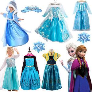 7a4e45aec2a00 Image is loading Kids-Girls-Elsa-Frozen-Dress-Costume-Princess-Anna-