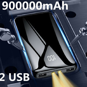 900000mAh Backup External 2 USB Battery Power Bank Pack Charger for Cell Phone