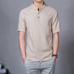 Men Linen T-Shirt – Retro Casual Men's T-shirt K8pIT4kczZ