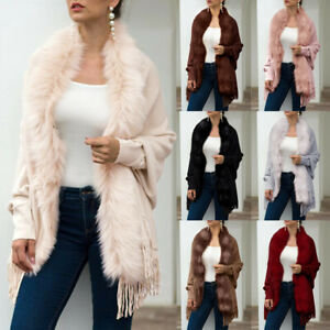 Women-Winter-Knitted-Cashmere-Poncho-Cape-Fur-Colla-rShawl-Cardigan-Sweater-Coat