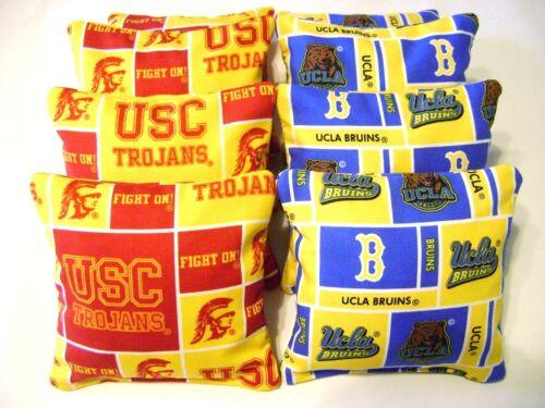 UCLA BRUINS VS USC TROJANS CORNHOLE BEAN BAGS ~SET OF 8 ~TOP QUALITY~