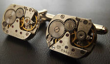 UNIQUE 17mm WATCH MOVEMENT CUFF LINKS MEN'S STEAMPUNK VINTAGE SILVER CUFFLINKS