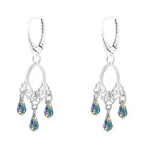 FASHIONS-FOREVER-925-Sterling-Silver-Royal-Crystal-Drop-Leverback-Earrings