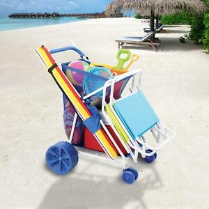 Folding Beach Cart Wagon Sand Outdoor wonder wheeler sports Wide ... 516aa665a87d