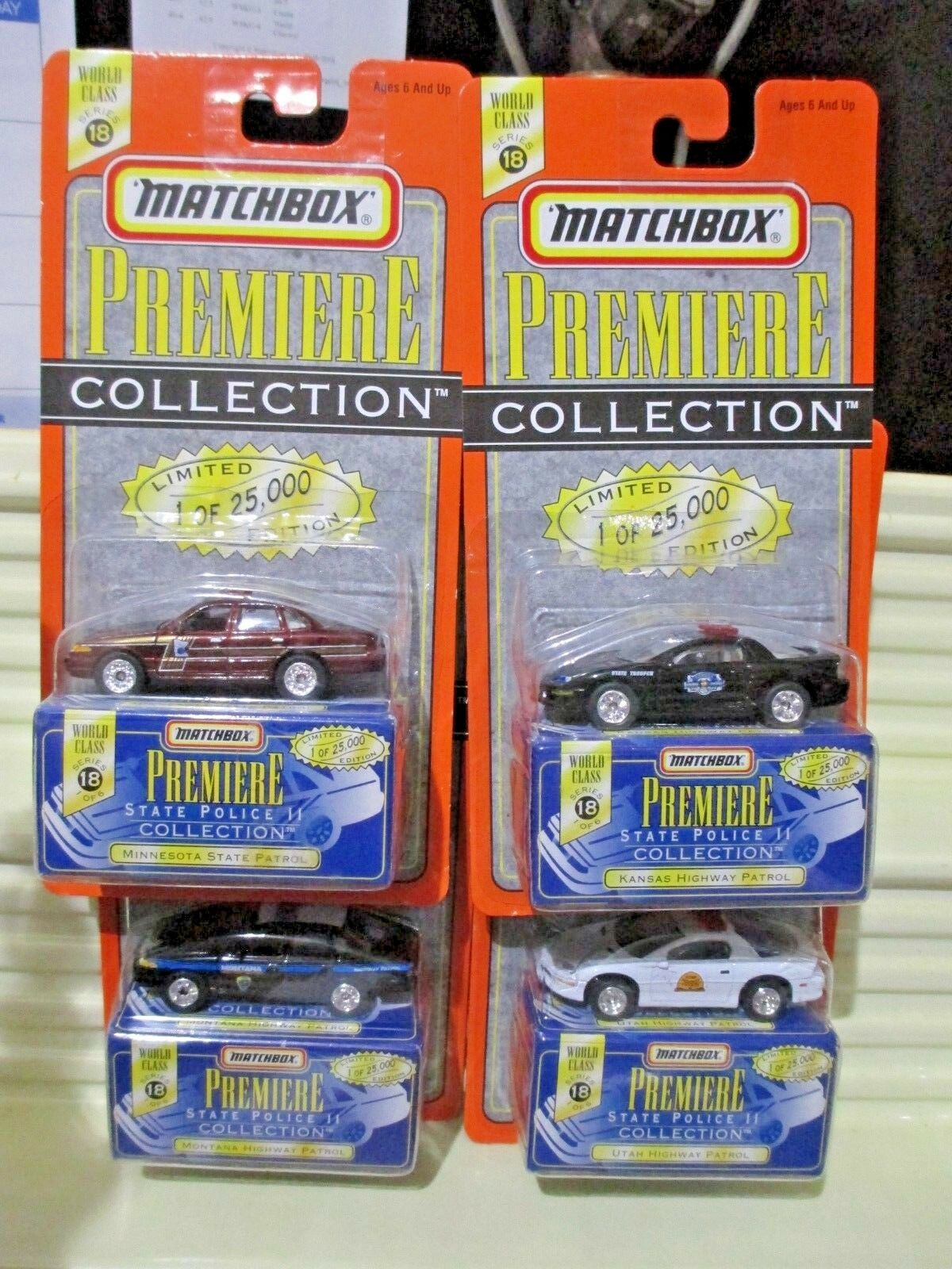 Matchbox 1997 Premiere World Class  18 4 State Police Cars MN, MT, UT + KS NuBxd