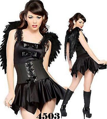 Wings Fallen Angel Scary Fairy Ladies Girl Fancy Dress Halloween Costume Dress