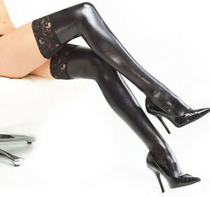 Lady-Women-PVC-Stockings-Hold-Up-Wet-Look-Faux-Leather-Stockings-Black-Socks-612