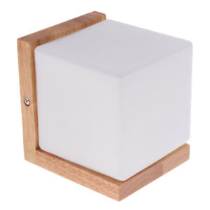 Details about Wood Frame Wall Lamp Glass Cover Light DIY Lighting Home Cafe  Comfort Simple