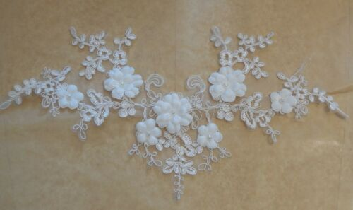 ivory beaded floral lace applique bridal wedding floral tulle beads lace motif