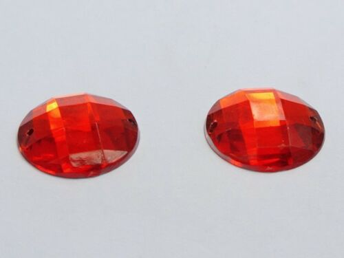 50 Red Acrylic Flatback Sewing Rhinestone Round Button 18mm Sew on beads