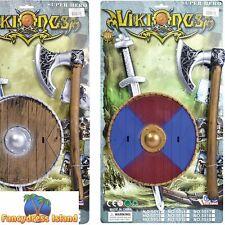 Child Kids Viking Toy Plastic Sword Shield /& Axe Fancy Dress Medieval Gladiator