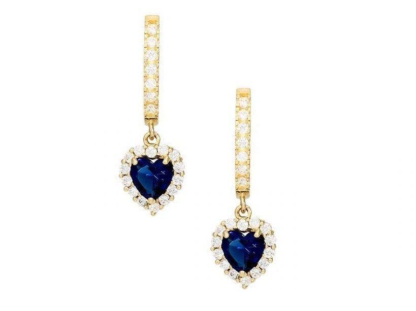 14k Yellow gold Heart Birthstone Diamond Halo Dangle Earrings 0.9″