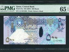 Qatar:P-27a,500 Riyals,2007 * Polymer Hybrid * PMG Gem UNC 65 ERPQ *
