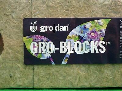 """Rockwool w// holes blocks delta 10 inch Grodan 4/"""" x 4/"""" x 4/"""" 1 Strip of 6"""
