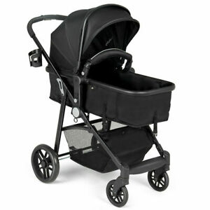 2-In-1-Foldable-Baby-Stroller-Kids-Travel-Newborn-Infant-Buggy-Pushchair-Black