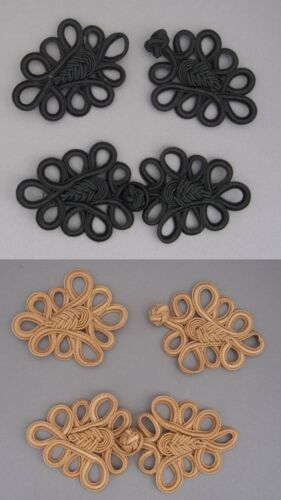 Black 2 Pairs extra large frog fasteners closure button  colour Gold #10