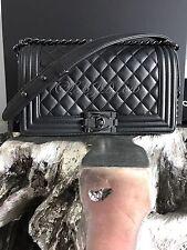 NWT CHANEL 2017 SO BLACK Boy Bag IRIDESCENT Caviar Lamb Lambskin Old Medium 17S