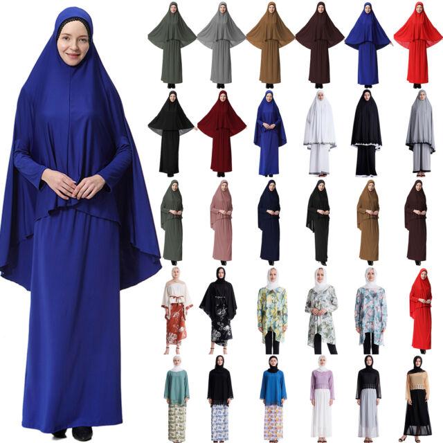 2PCS Women Muslim Prayer Dress Kaftan Top+Long Skirt Islamic Clothes Set Vintage