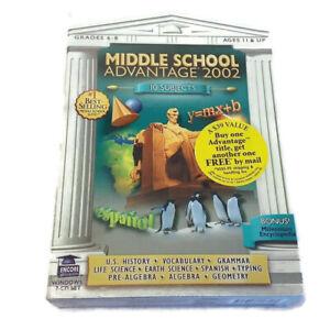 Middle School Advantage 2002 PC 7 CD-ROM Algebra US History Grammar Science 6-8