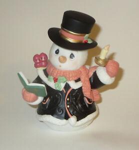 O-VEN-TODO-YE-Faithful-Precious-Moments-Estatuilla-de-Snowman-caroling-Pajaros