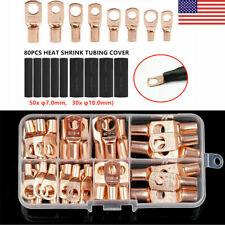 140Pcs Copper Tube Terminals Battery Welding Cable Lug Ring Crimp Connectors Kit