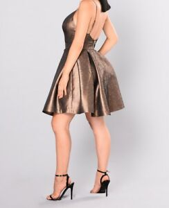 67043bea381 Fashion Nova Women s Steal the Show Metallic Dress Large Bronze NWT ...