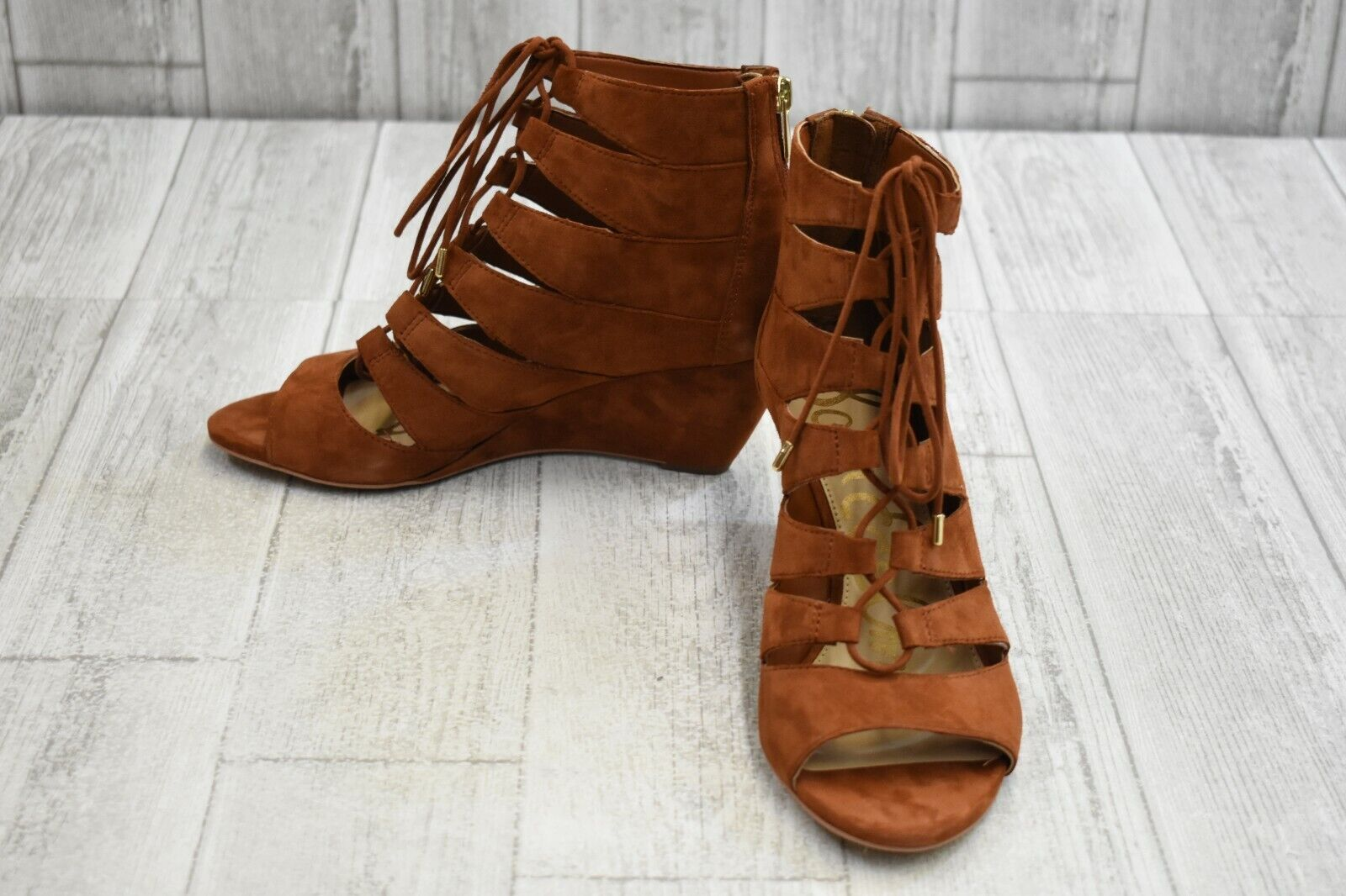 Sam Edelman Santina Lace Up Suede Wedge Sandals, Women's Size 8.5M, Cinnamon