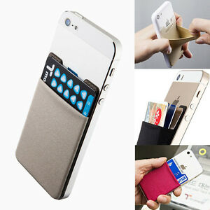 Mobile-Smart-Phone-Lycra-Multi-Wallet-ID-Card-Holder-3M-Adhesive-Back-Pocket