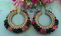 Multi Big Pearl gold hoop Bollywood Costume Jewellery Earrings Gold UK seller