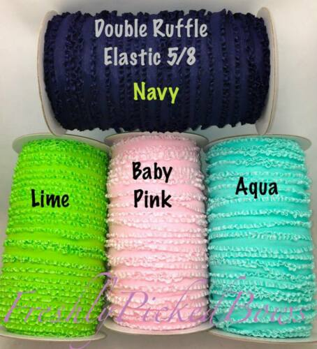 3 yards  5//8 Double Ruffle ELASTIC 17 colors super soft great for headbands