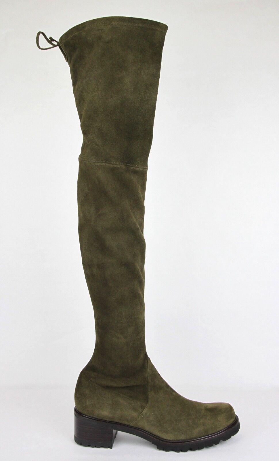 835 New Stuart Weitzman Olive Green Suede Vanland Over-The-Knee Boot 11M