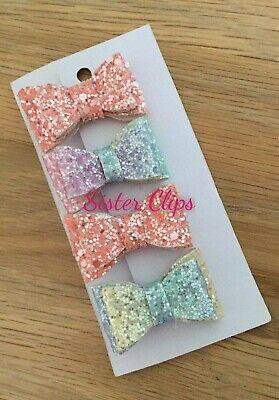 Girls Handmade 4 baby//toddler small coral /& rainbow Glitter Hair Bow bobbles
