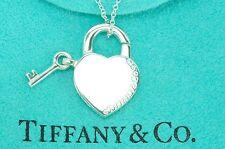 "Tiffany & co. 92.5% Silver Openable Heart Lock & Key Pendant 15.75"" Necklace"